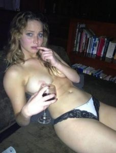 Jennifer Lawrence Drinking Wine Nude
