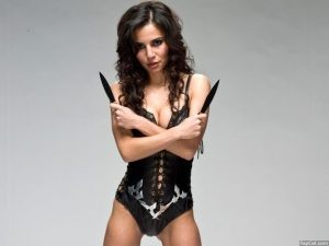 Martha Higareda in a Leather Costume 2