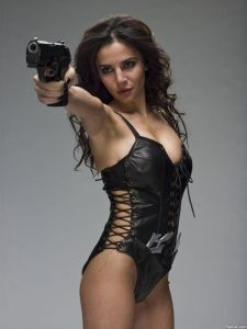 Martha Higareda in a Leather Costume 3