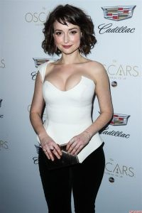 Milana Vayntrub in Sexy Suit Showing Her Cleavage